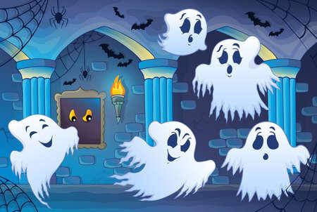 Haunted castle interior theme Vector