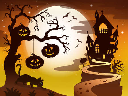 haunted house: Spooky tree topic image