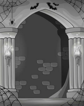 Black and white wall alcove - eps10 vector illustration. Vector