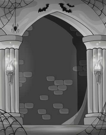 castle interior: Black and white wall alcove - eps10 vector illustration.