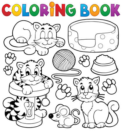 Libro de la colección del tema del gato para colorear - ilustración vectorial eps10.