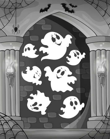 Black and white alcove and ghosts 1 - eps10 vector illustration. Vector