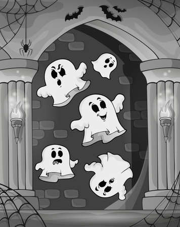 castle interior: Black and white alcove and ghosts 2 - eps10 vector illustration.