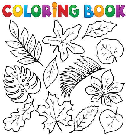 Coloring book leaves theme 1 - eps10 vector illustration. Vector