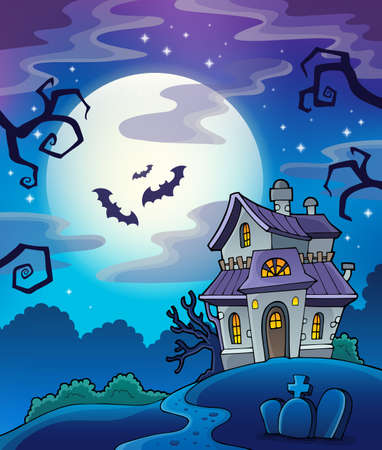 spooky house: Haunted house theme background - eps10 vector illustration.
