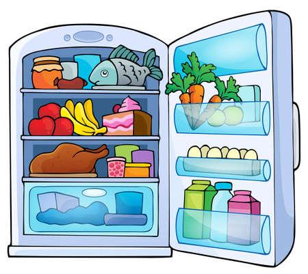 frigo: Afbeelding met koelkast thema 1 - vectorillustratie eps10. Stock Illustratie