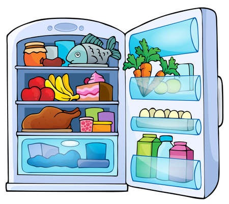 refrigerator with food: Image with fridge theme 1 - eps10 vector illustration.