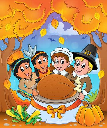 pilgrim: Thanksgiving pilgrim theme 6 - eps10 vector illustration.
