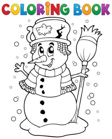 Coloring book snowman theme 1 - eps10 vector illustration. Vector