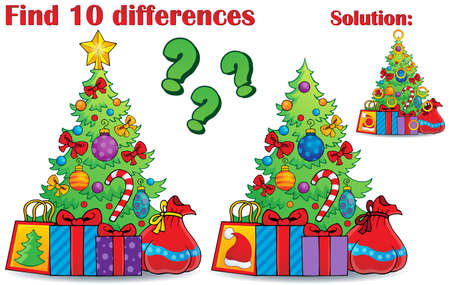 eps10: Find differences Christmas theme - eps10 vector illustration.