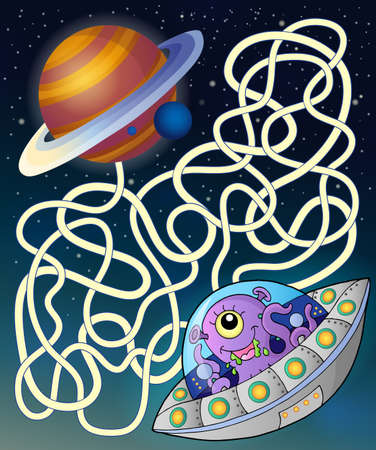 Maze 15 with flying saucer - eps10 vector illustration. Vector