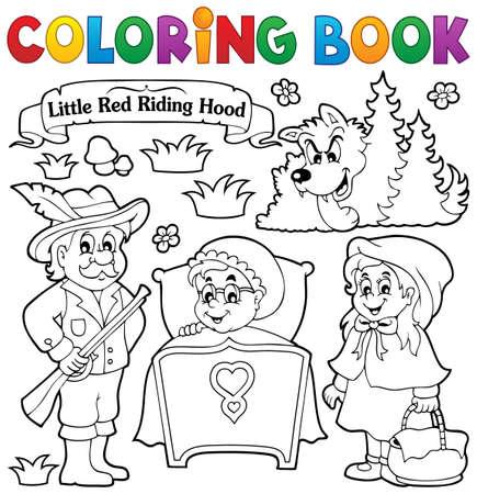 caperucita roja: Colorear libro cuento de hadas tema 1 - ilustraci�n vectorial eps10.