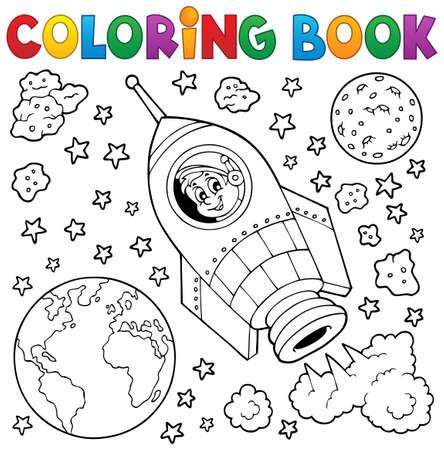 cohetes: Colorear espacio libro el tema 1 - ilustraci�n vectorial eps10.