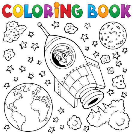 COLOURING: Coloring book space theme 1 - eps10 vector illustration.