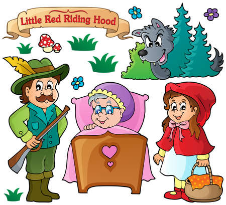 the little red riding hood: Cuento de hadas tema colecci�n 1 - ilustraci�n vectorial eps10.