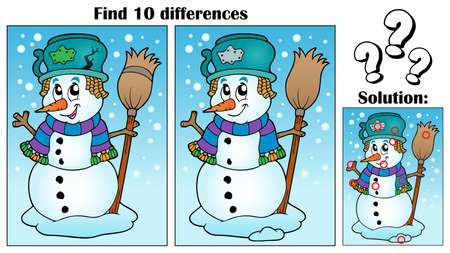 neckscarf: Find differences theme with snowman - eps10 vector illustration. Illustration
