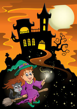 wand: Haunted mansion Halloween theme - eps10 vector illustration. Illustration