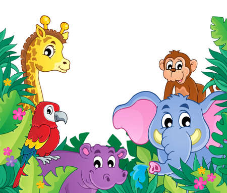 camelopard: Image with jungle theme 8 - eps10 vector illustration.