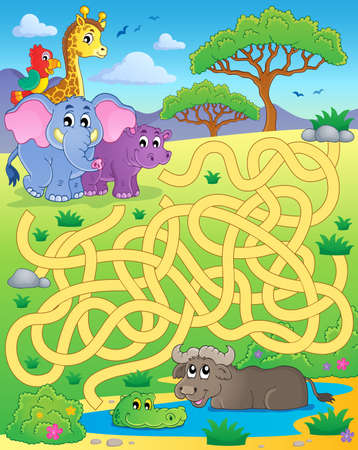 camelopard: Maze 16 with tropical animals - eps10 vector illustration. Illustration