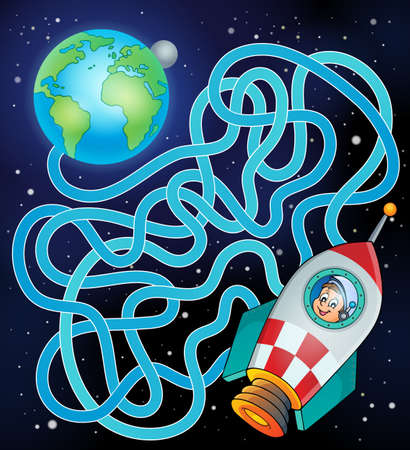 Maze 17 with Earth and spaceship - eps10 vector illustration.