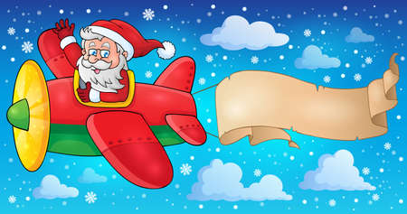 Santa Claus in plane theme image  Vector