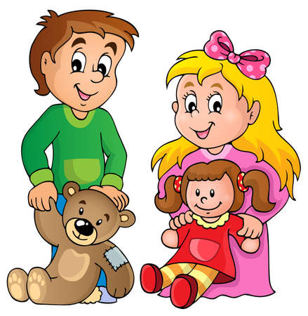 brother and sister: Children with toys theme image 1  Illustration