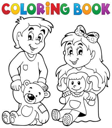 hermanos jugando: Dibujos para niños libros con los juguetes 1