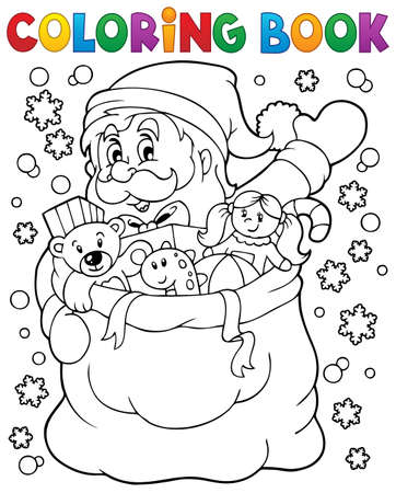 Coloring book Santa Claus in snow 4 Stock Vector - 34569267