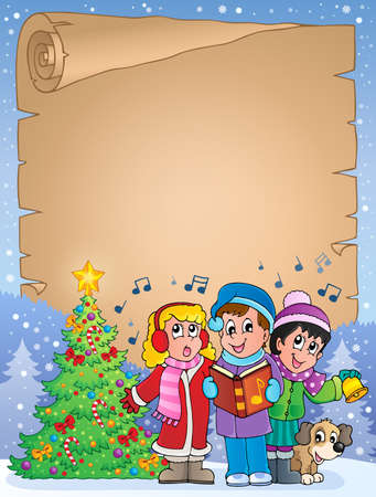 songbook: Parchment with carol singers