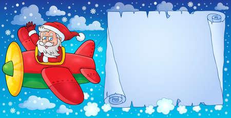 Santa Claus in plane theme image 8  Vector