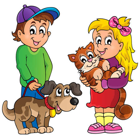 cat clipart: Children with pets theme