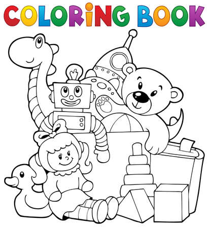 toys clipart: Coloring book heap of toys