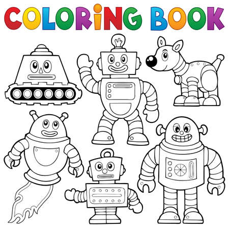 Coloring book robot collection Stock Vector - 35432407