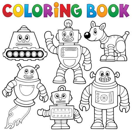 Kleurboek robot collectie Stock Illustratie