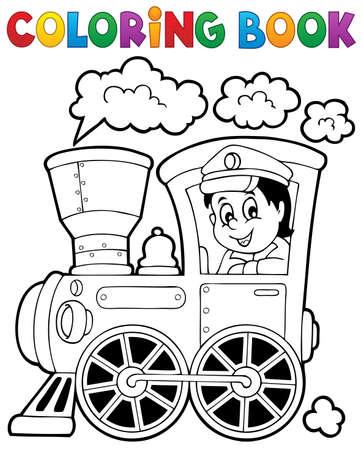 maquina vapor: Colorear tren libro tema Vectores