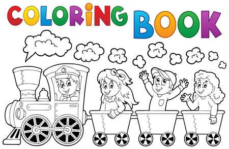locomotora: Colorear tren libro tema Vectores