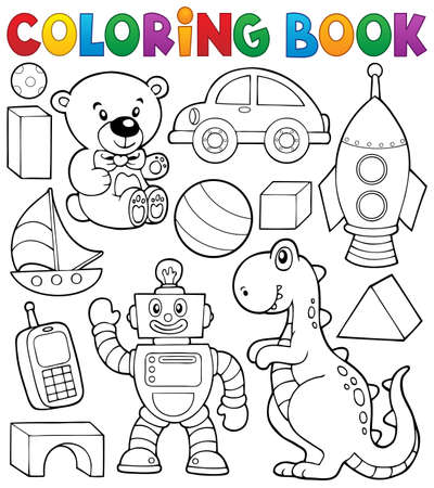 Coloring book with toys thematic   Vector