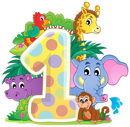 numbers clipart: Happy animals around number  1 Illustration
