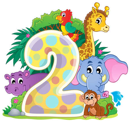 number of animals: Happy animals around number two
