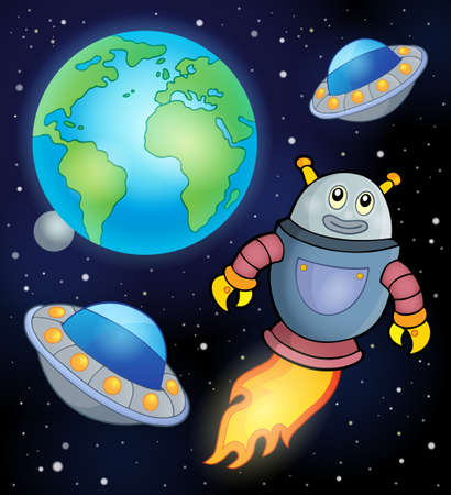 unidentified: Space theme with flying robot   Illustration