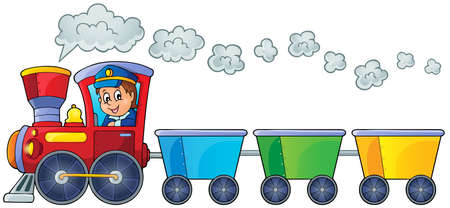 Train with three empty wagons   Ilustracja