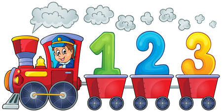 numbers clipart: Train with three numbers  Illustration