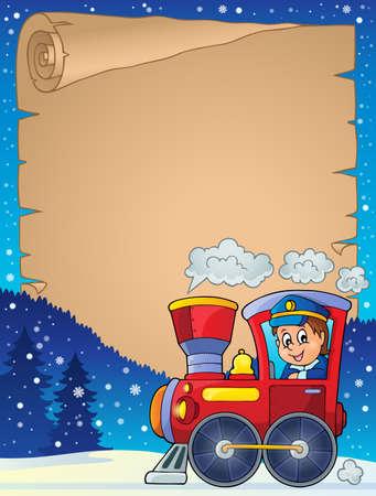 locomotive: Winter parchment with locomotive