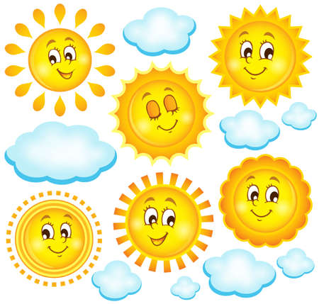 cloud clipart: Abstract sun theme collection 2 - eps10 vector illustration.