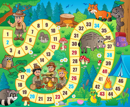 girl scout: Board game theme image 8 - eps10 vector illustration. Illustration