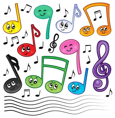 notes music: Cartoon music notes theme image 1 - eps10 vector illustration.