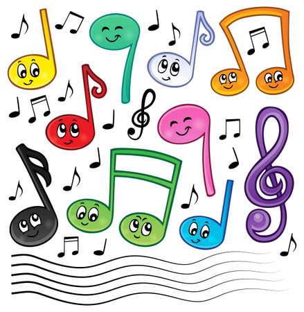 musical notes: La música de la historieta observa la imagen el tema 1 - ilustración vectorial eps10.