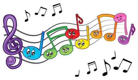 nota musical: La música de la historieta observa la imagen el tema 2 - ilustración vectorial eps10.