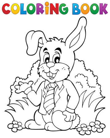spring coat: Coloring book Easter rabbit theme 1 - eps10 vector illustration.