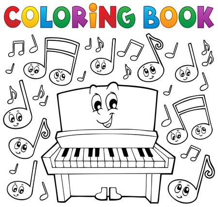 upright piano: Coloring book music theme image 1 - eps10 vector illustration.